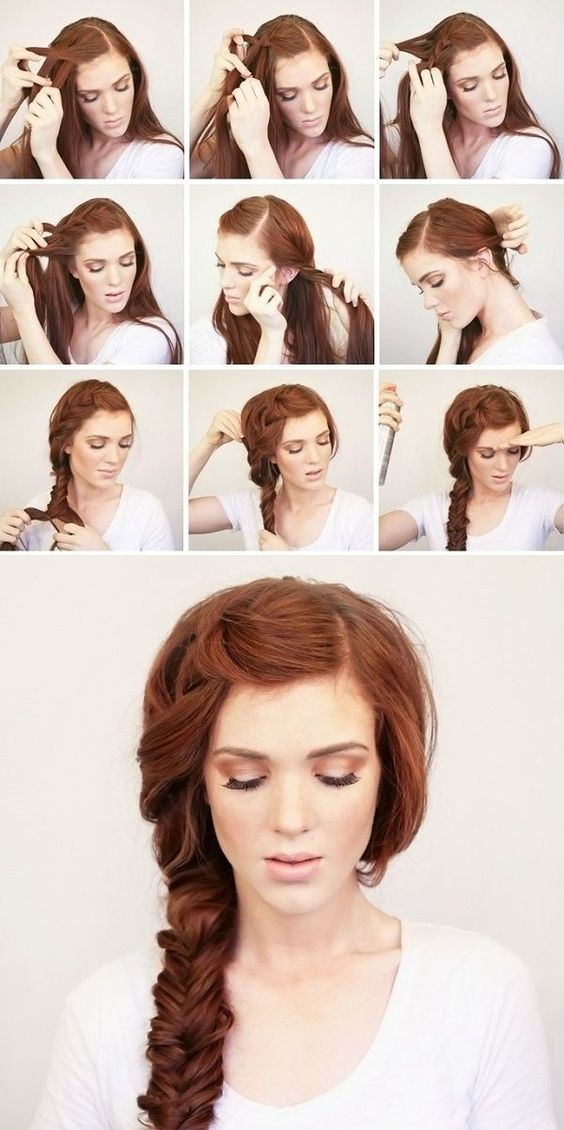 Side braid without bangs over