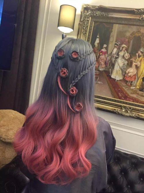 Ombre-Curls-with-Braids over