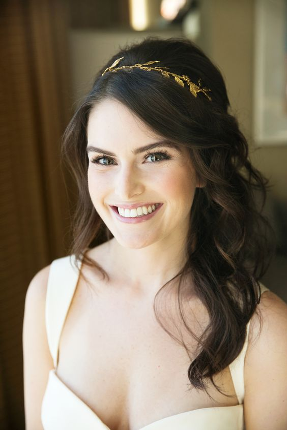 romantic half-up with golden headband via