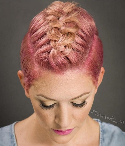 Pink braided short hair