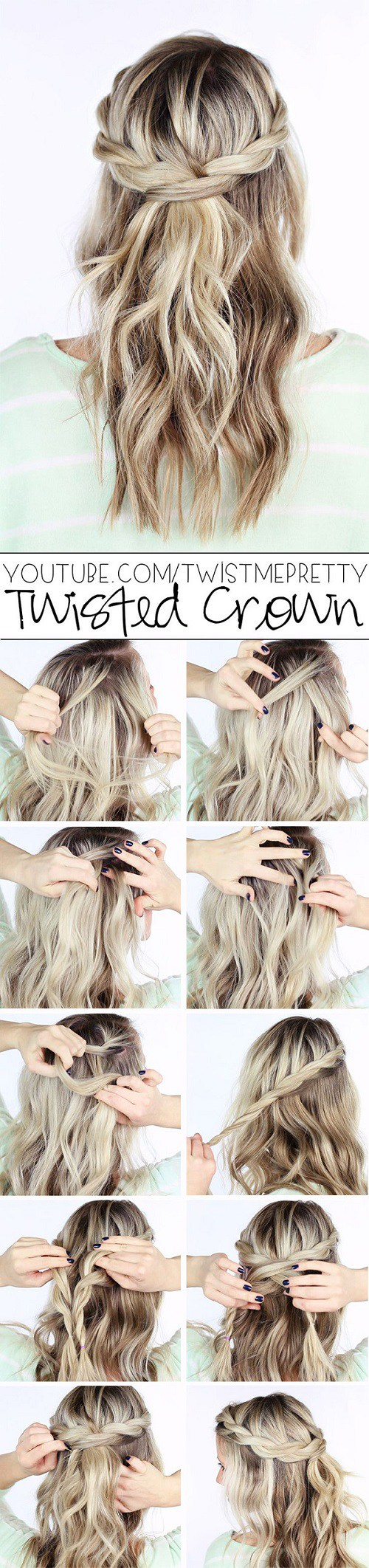 Twisted crown braid over