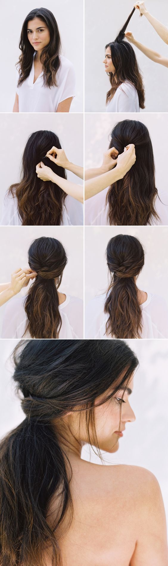 simple ponytail for wavy hair over
