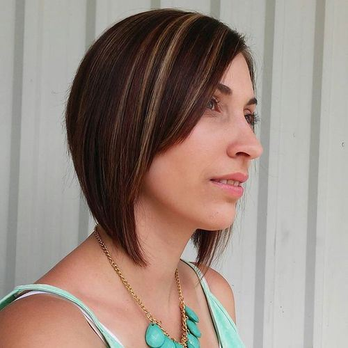 Inverted bob with highlights