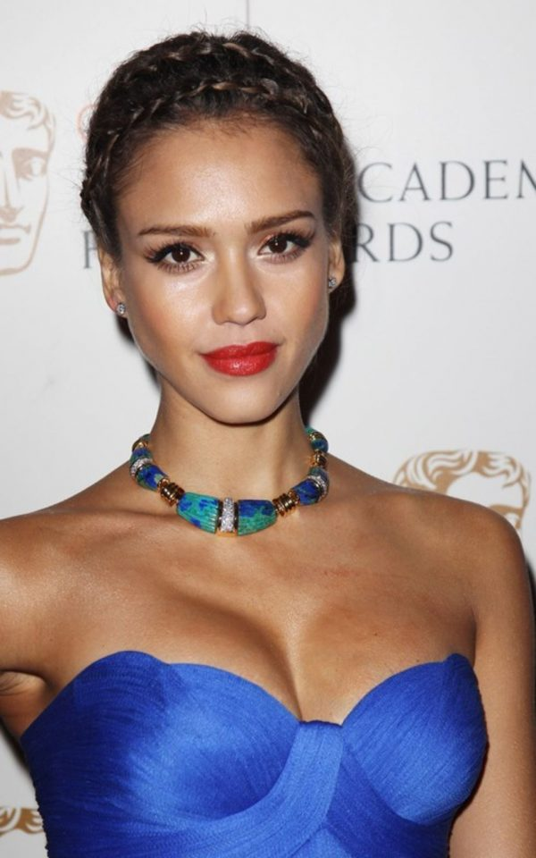 Jessica Alba Crown Braid over