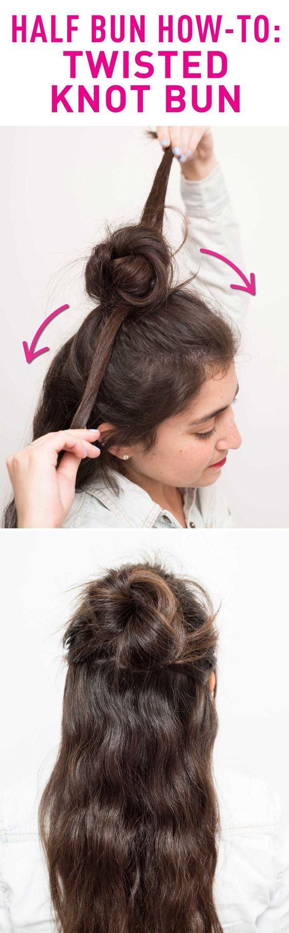Top twisted knot bun over