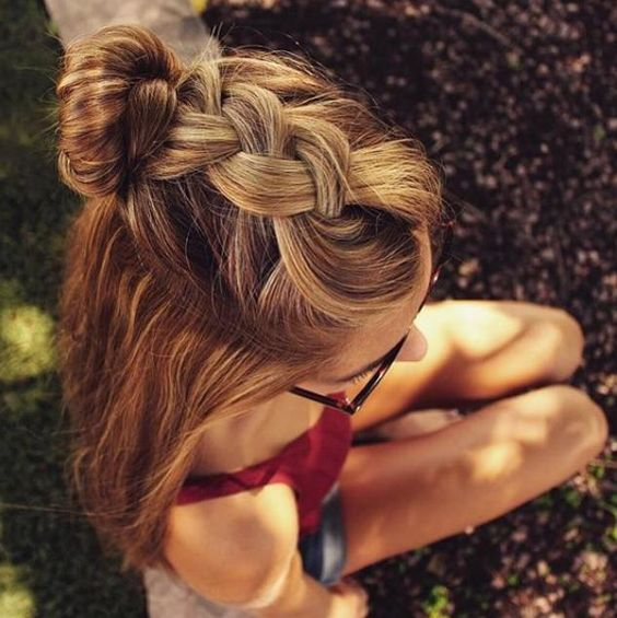 Long hair with braids and buns over