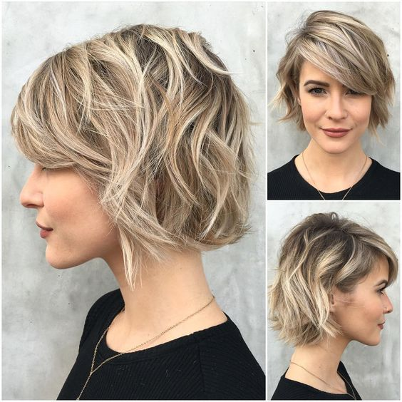 Curly short hair over