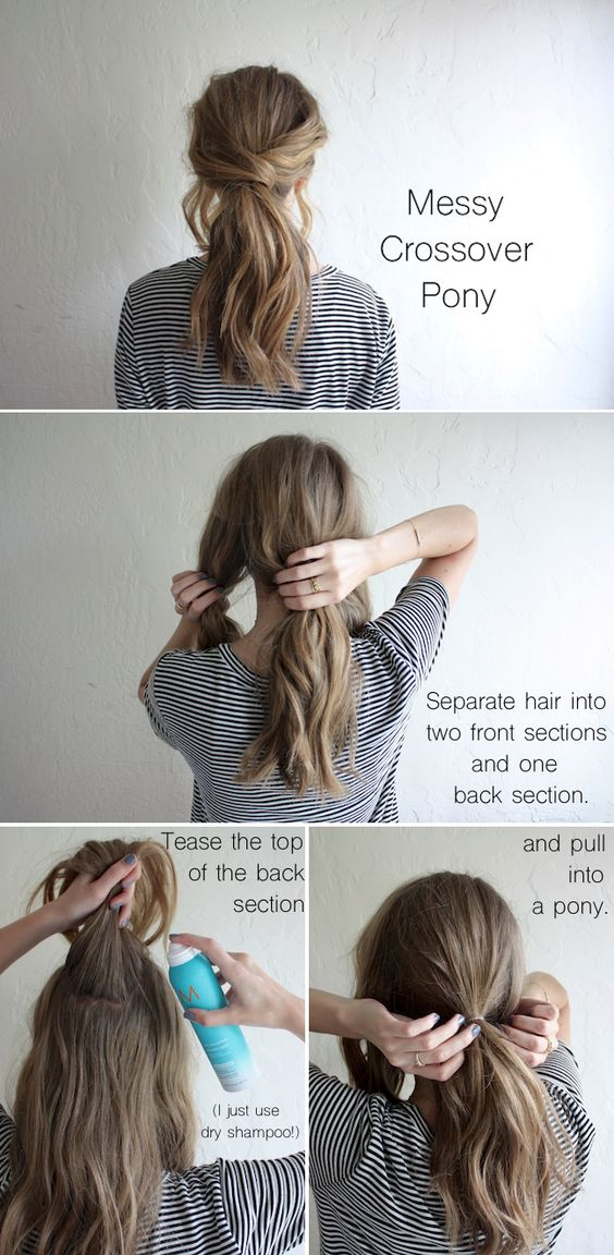Messy crossover ponytail