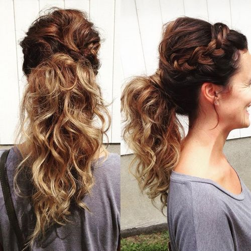 Braided ponytail for curly hair