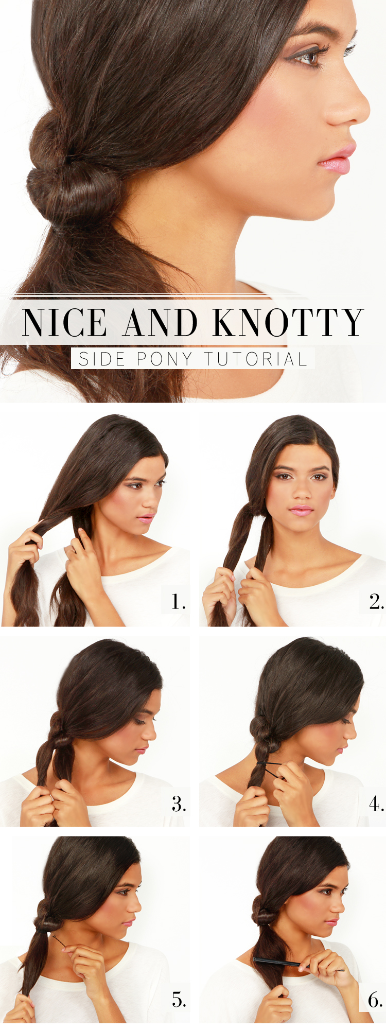 Sideways swept tutorial for knotty ponytail hairstyles