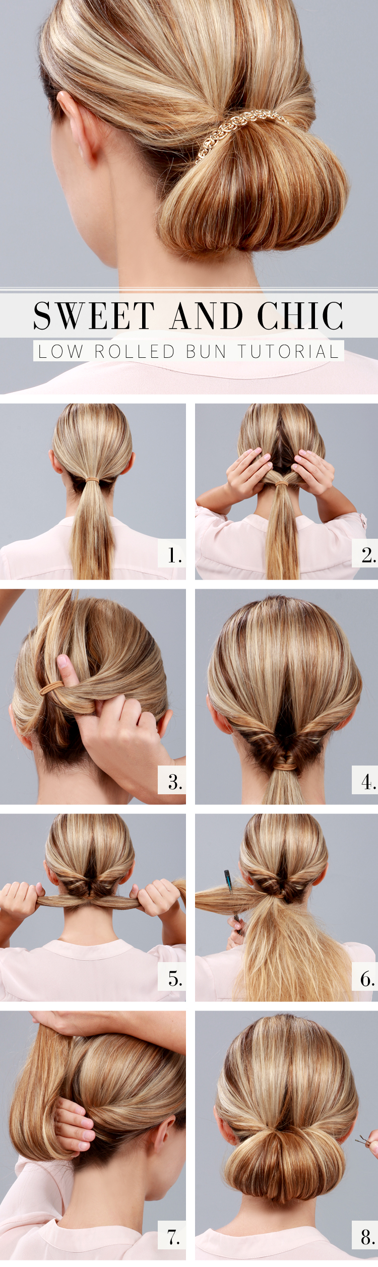 Low Rolled Bun Hairstyle Tutorial