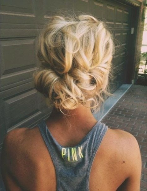 Rear view of Messy Updo for Women