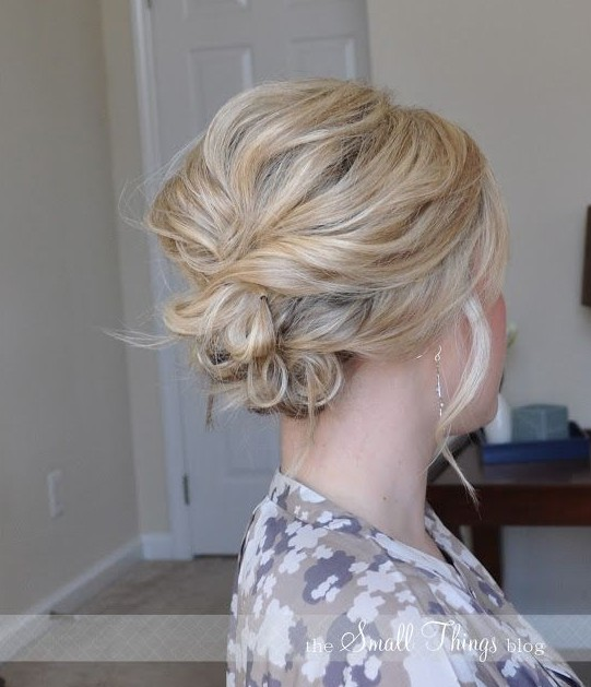 Simple messy updo for the wedding