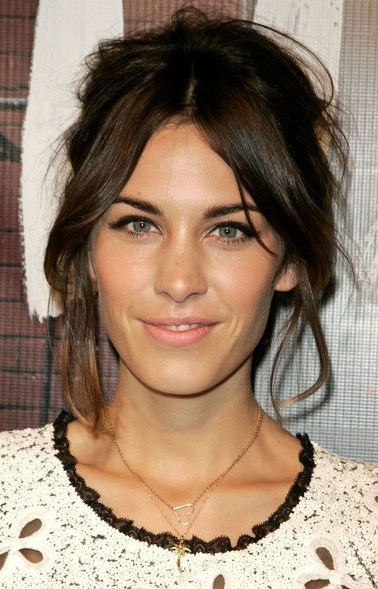 Alexa Chung's messy updo and split fringe hairstyle