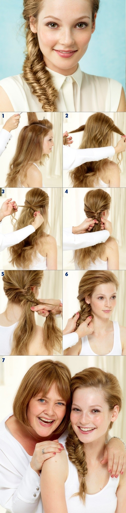 Side fishtail braid hairstyle tutorial