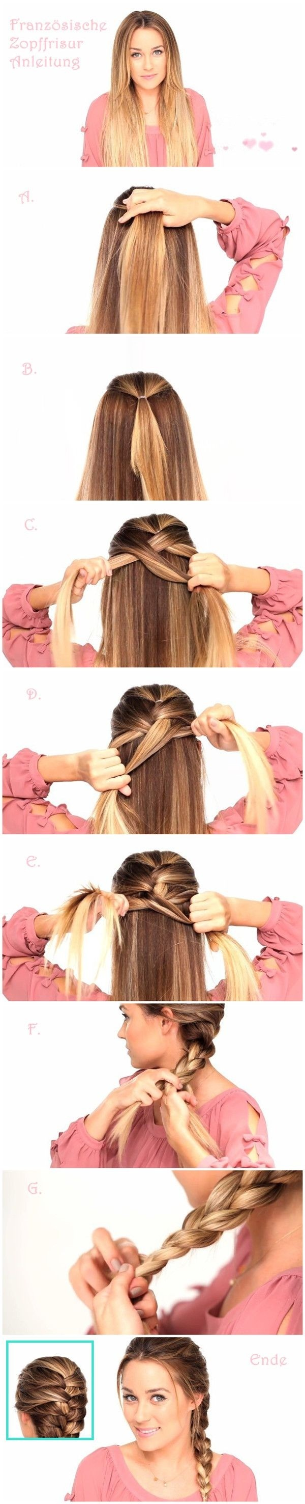 French braid hairstyle tutorial for long hair