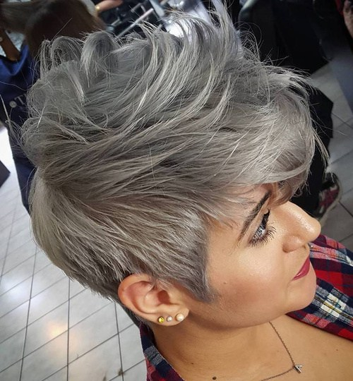Gray faux hawk