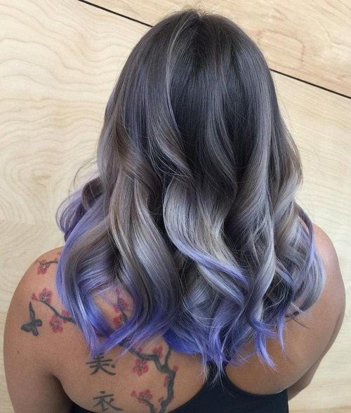 Purple and gray ombre haircut