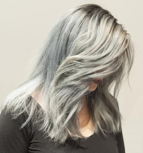 Very gray hair look