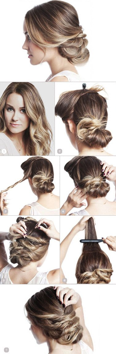 Pinned bun hairstyle