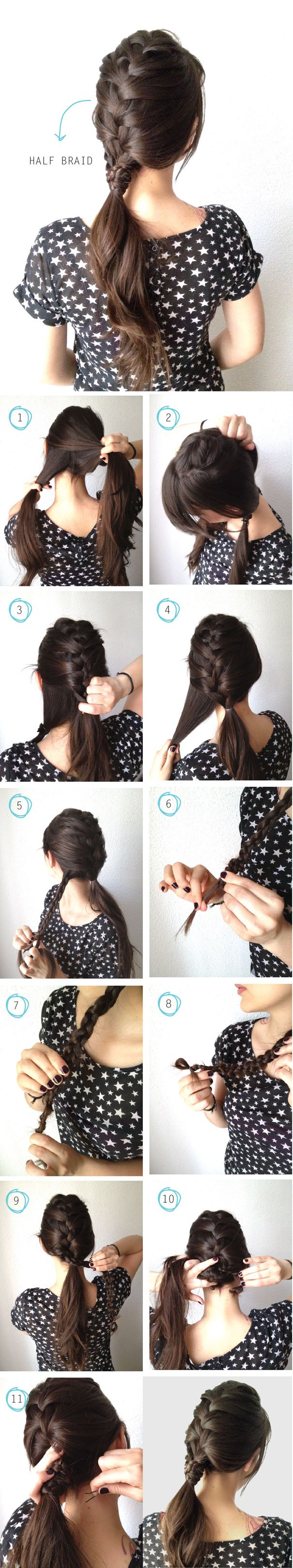 Half braid ponytail