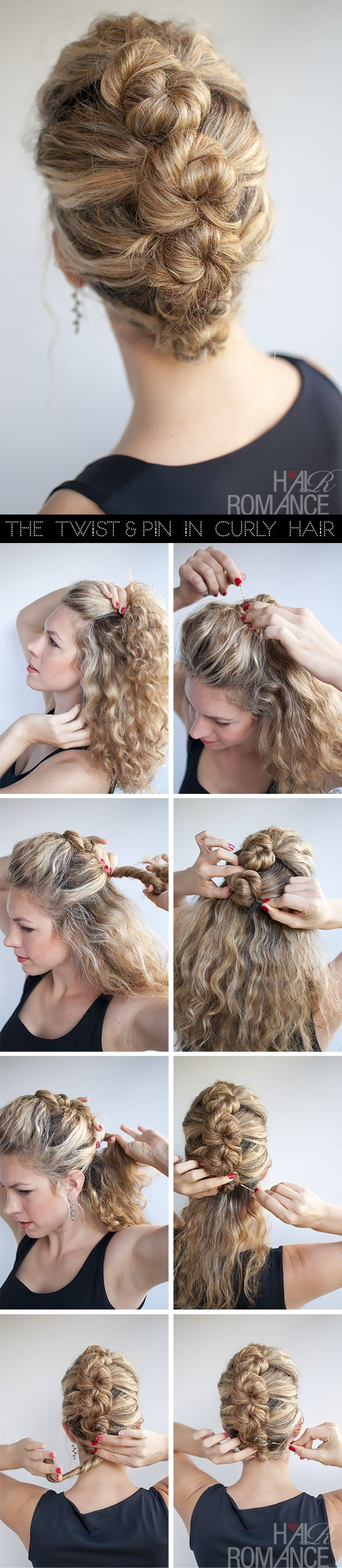 Pinned updo for curly hair