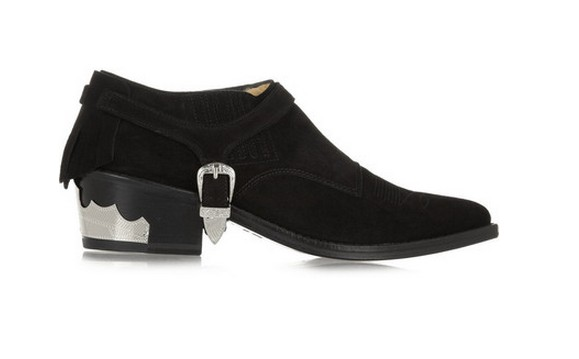 Toga Pulla ankle boots in suede with fringes, black