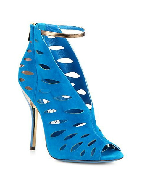 Jimmy Choo Tamera suede cutout ankle boots, blue and bronze