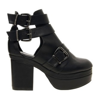 ASOS AGAINST THE CLOCK cutout boots, black