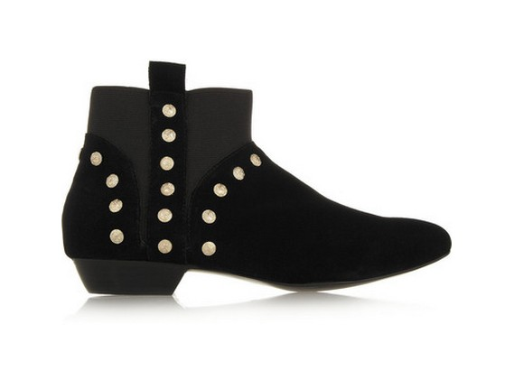 12th Street Cynthia Vincent Dale studded suede ankle boots, black