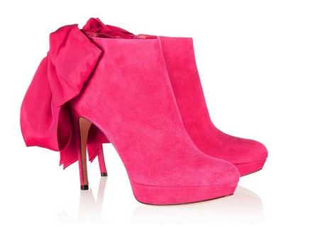 Alexander McQueen suede ankle boots with bow embellishment, bright pink
