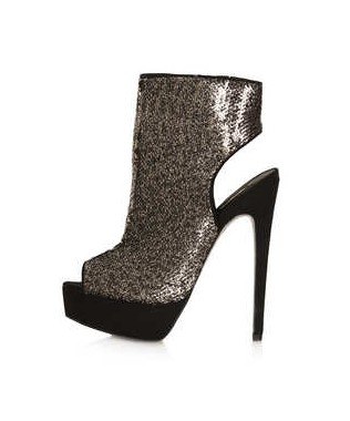 TOPSHOP ABSINTH stiletto cut out boots, gold sequins