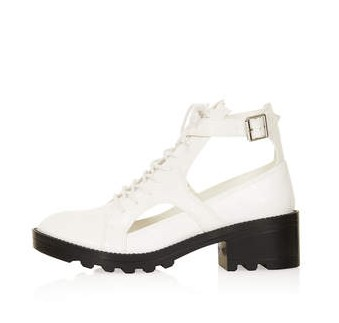 TOPSHOP MERCURY laced boots, white