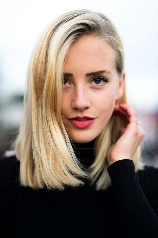 Side swept lob hairstyle