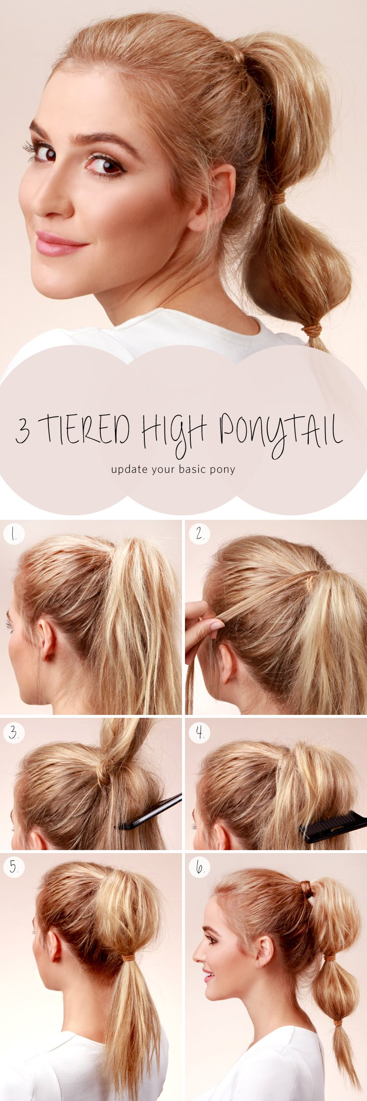 3-tier high ponytail