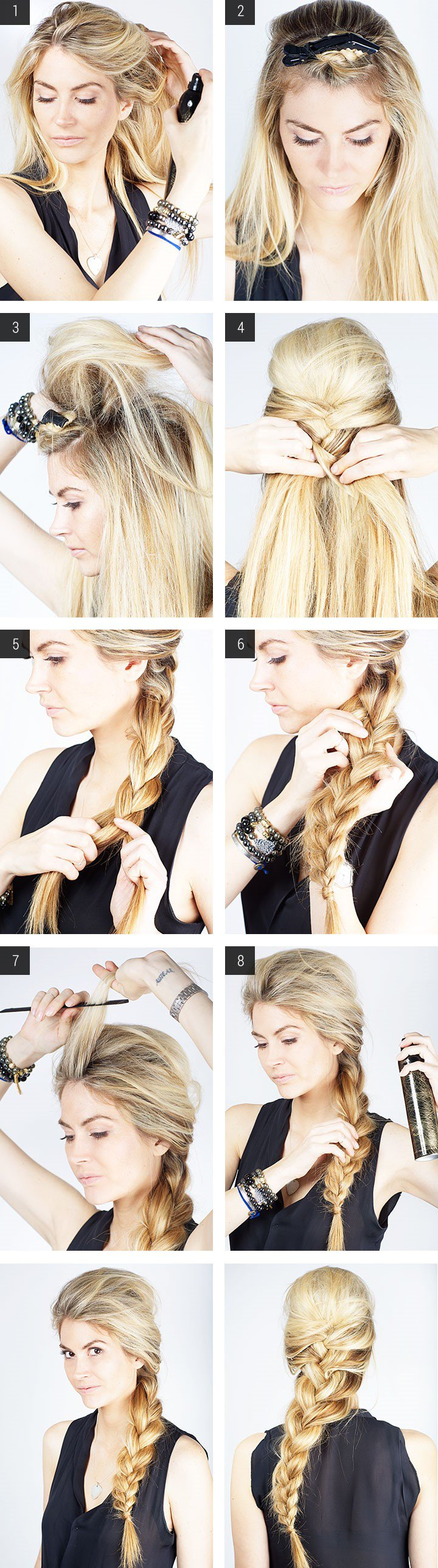Side swept braid ponytail