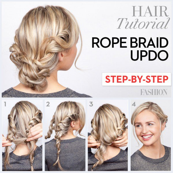 Rope braid updo hairstyle tutorial