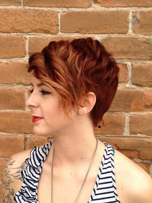 Red curly pixie hairstyle
