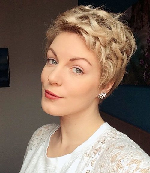 Blonde curly pixie hairstyle