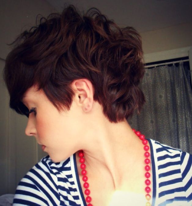 Messy curly pixie hairstyle