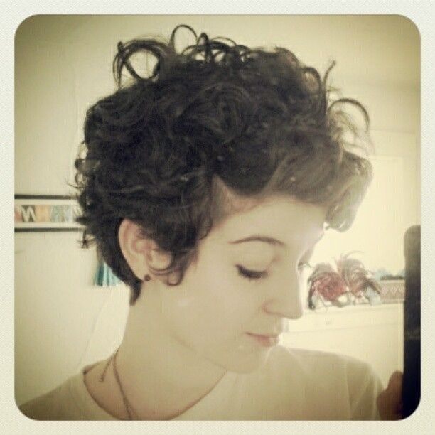 Simple curly pixie hairstyle