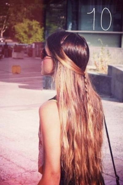 Half up braid hairstyle for very long hair