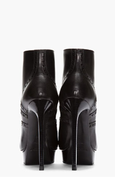 Saint Laurent black leather brogued Oxford Janis boots rear view