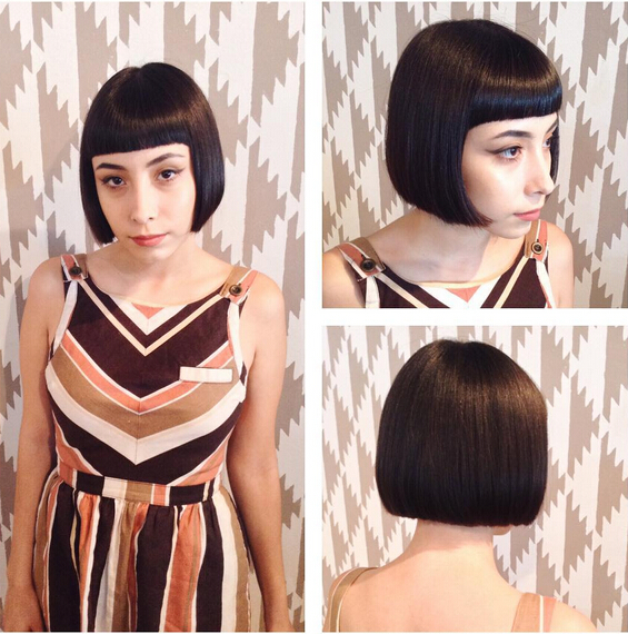 Short bob hairstyle with bangs