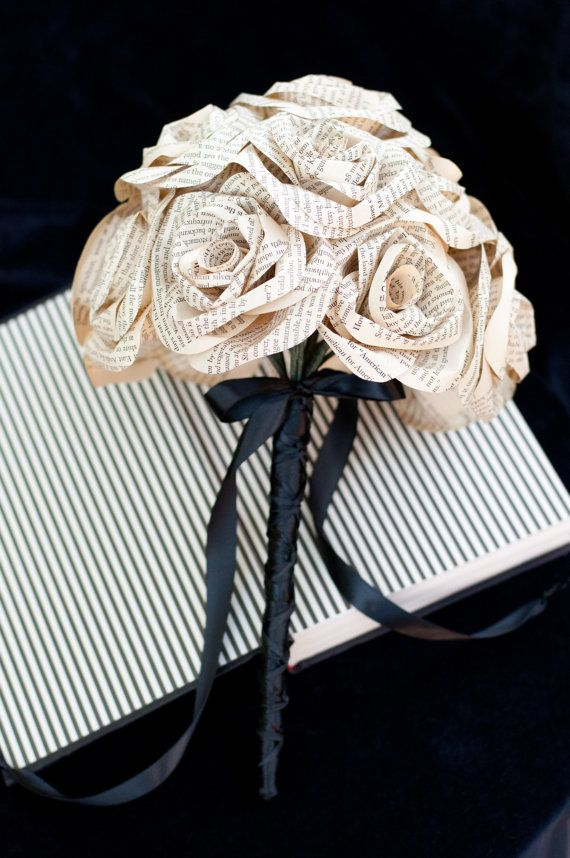 Recycled book page rose bouquet