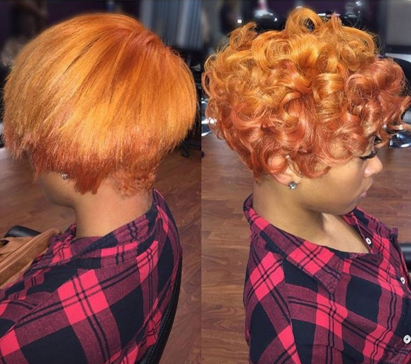 Short curly hairstyle for orange hair