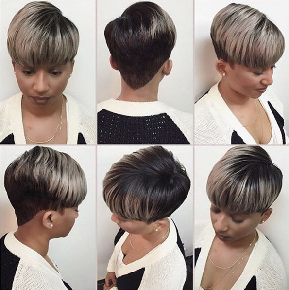 Short straight hairstyle with highlights