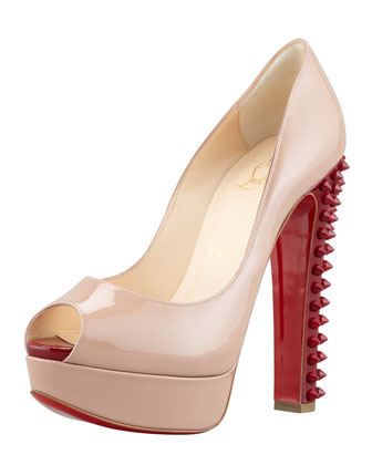 Christian Louboutin Babel Patent Peep-Toe Spikes Pump, Nude Rouge