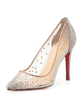 Christian Louboutin Body Rhinestone Mesh Pump with Red Sole, Grenadine