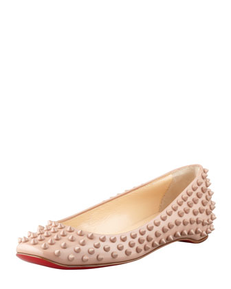 Christian Louboutin Gozul Spike patent leather flat, beige